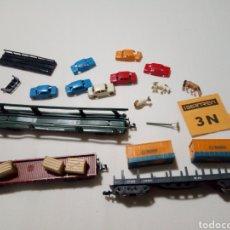 Trenes Escala: LOTE VAGONES CONTENEDORES UTENSILIOS VACAS IBERTREN. Lote 174404337
