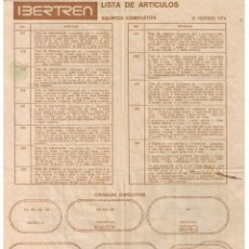 Trenes Escala: ANTIGUA LISTA DE ARTÍCULOS IBERTREN 21-FEBRERO-1976 EQUIPOS COMPLETOS. Lote 176844995