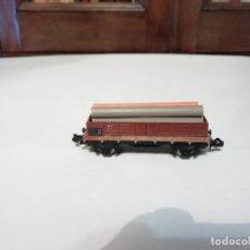 Trenes Escala: IBERTREN N VAGÓN TRANSPORTE VIGAS PERFECTO ESTADO. Lote 177046585