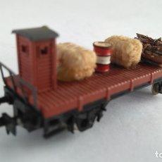Trenes Escala: IBERTREN N VAGÓN CARGA PLATAFORMA CON GARITA . Lote 183521388