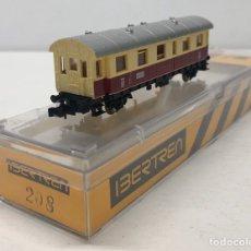 Trenes Escala: IBERTREN VAGÓN 1ª CLASE, 2 EJES (MARFIL-ROJO) REFERENCIA 208, ESCALA N. Lote 187121848