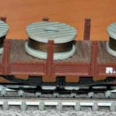 Trains Échelle: VAGÓN TELEROS 4 EJES MARRÓN CON BOBINAS DE IBERTREN, REF. 437. ESCALA N. Lote 191718305