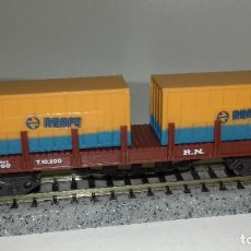 Trenes Escala: IBERTREN N TELERO CONTENEDORES 4 EJES L44-215 (CON COMPRA DE 5 LOTES O MAS ENVÍO GRATIS). Lote 191815386