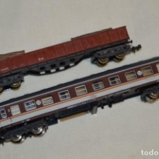Trenes Escala: ESCALA N - LOTE 02 - VAGÓN / COCHE VIAJEROS 2ª - SERIE 8000 / ESTRELLA Y OTRO DE MERCANCÍAS ¡MIRA!. Lote 194883915