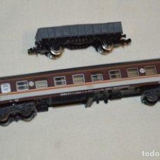 Trenes Escala: ESCALA N - LOTE 03 - VAGÓN / COCHE VIAJEROS 1ª - SERIE 8000 / ESTRELLA Y OTRO DE MERCANCÍAS ¡MIRA!. Lote 194886586