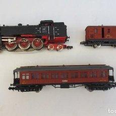 Trenes Escala: LOCOMOTORA VAPOR DB 66002 + VAGÓN PASAJEROS MATARÓ + VAGÓN EQUIPAJE Y CORREOS. ESC. N IBERTREN. Lote 197075417