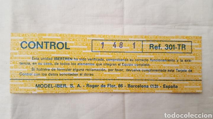 IBERTREN 3N - TARJETA CONTROL CALIDAD REF.: 301-TR 301 TR - MODEL-IBER S.A. (Juguetes - Trenes a escala N - Ibertren N)