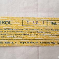 Trenes Escala: IBERTREN 3N - TARJETA CONTROL CALIDAD REF.: 301-TR 301 TR - MODEL-IBER S.A.. Lote 212685300
