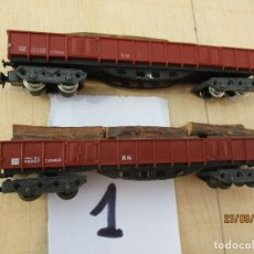 Trenes Escala: IBERTREN DOS VAGONES BOGIES CON CARGA DE TRONCOS. Lote 218613291