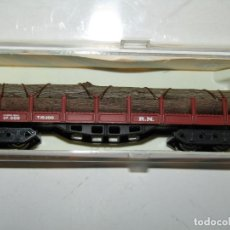 Trenes Escala: ANTIGUO VAGÓN TELEROS 4 EJES CON TRONCOS EN ESCALA *N* REF. 433 DE IBERTREN. Lote 218814996
