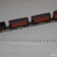 Trenes Escala: IBERTREN ESCALA N / 2N - LOTE ANTIGUO Y VARIADO DE 3 VAGONES MZA Y LOCOMOTORA CUCO - ¡MIRA FOTOS!. Lote 221249805