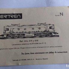 Trenes Escala: IBERTREN N INSTRUCCIONES DE LA LOCOMOTORA ELÉCTRICA ALSTHOM REF 014,015,018. Lote 221462171