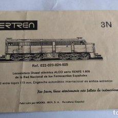 Trenes Escala: IBERTREN N INSTRUCCIONES LOCOMOTORA DIESEL ALCO 1800 REF. 022,023,024,025. Lote 221462361