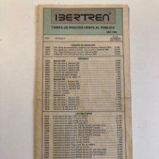 Trenes Escala: CATÁLOGO IBERTREN DE PRECIOS DE VENTA AL PÚBLICO 1992. Lote 226584210