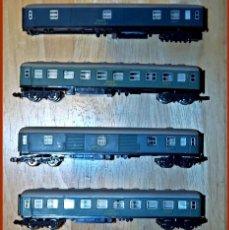 Trenes Escala: 12..CUATRO VAGONES DE PASAJEROS....TRES EN BUEN ESTADO....Y UNO INCOMPLETO PARA PIEZAS (VER FOTOS). Lote 229131100