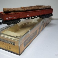 Trenes Escala: IBERTREN VAGÓN DE MERCANCÍAS BORDE ALTO CON TRONCOS (M), REFERENCIA 415 ESCALA N. Lote 235037085