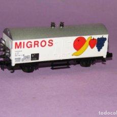 Treni in Scala: ANTIGUO VAGÓN FRIGORÍFICO 2 EJES MIGROS REF. 387 EN ESCALA *N* DE IBERTREN IBER MODEL. Lote 241430105