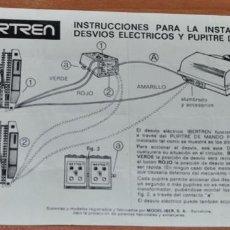 Trenes Escala: INSTRUCCIONES PARA LA INSTALACIÓN DE DESVÍOS ELÉCTRICOS Y PUPITRE DE MANDOS DE IBERTREN. Lote 246093010