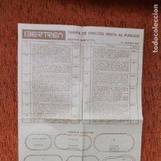 Trenes Escala: IBERTREN - TARIFAS VENTA AL PÚBLICO 1976 - ESCALA N - JYA120. Lote 252407115