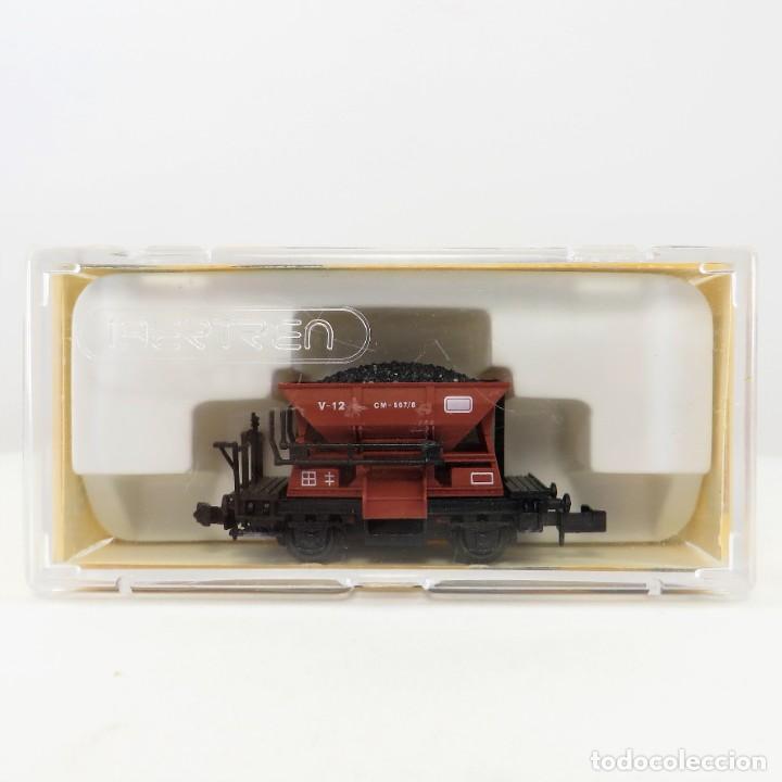 Trenes Escala: Ibertren 461 Vagoneta minas dos ejes marrón con carbón Escala 1/160 N - Foto 3 - 263074645