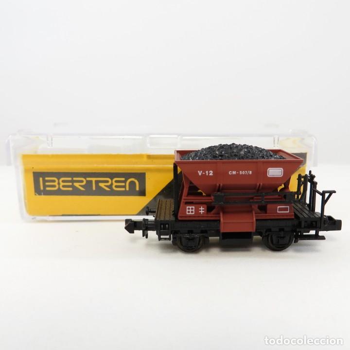 Trenes Escala: Ibertren 461 Vagoneta minas dos ejes marrón con carbón Escala 1/160 N - Foto 5 - 263074645