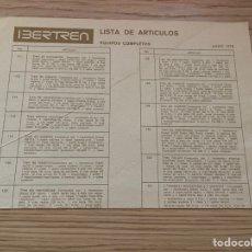 Trenes Escala: LISTA DE ARTÍCULOS IBERTREN N 1978. Lote 269360863