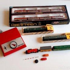 Trenes Escala: GRAN LOTE IBERTREN N - LOCOMOTORA METAL - VAGONES VARIOS Y CONTROL VELOCIDAD, COCHES Y OTROS. Lote 276156538