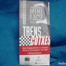 Trenes Escala: ANDORRA MINI EXPO LA MASSANA 2001 - TRENS, COTXES IV EDICIÓ. Lote 287786243