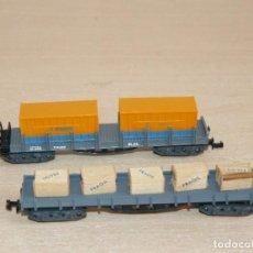 Trenes Escala: IBERTREN 2 VAGONES MERCANCÍAS: 1 TELERO CON CONTENEDORES RENFE + 1 BORDE BAJO CAJAS FRAGIL ESCALA N. Lote 288097733