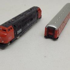 Trenes Escala: LOTE IBERTREN LOCOMOTORA DSB CON VAGON PASAJEROS. MADE IN SPAIN. ESCALA N.. Lote 290895563