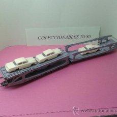 Trenes Escala: 2 VAGONES DE TRANSPORTE DE VEHICULOS MARCA LIMA HO CON 4 COCHES. Lote 37585258