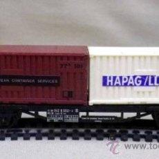 Trenes Escala: TREN ESCALA H0, VAGON DE CARGA, CONTENEDORES HAPAG-LLOYD Y LEP, LIMA, ITALIA, DB . Lote 39633546