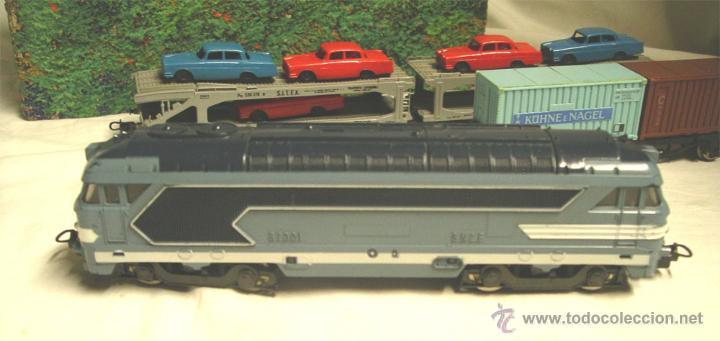 Trenes Escala: Lote Tren Lima Máquina SNCF 62001, 2 Vagones mercancías coches y contenedores y Túnel, escala H0 - Foto 2 - 45702312
