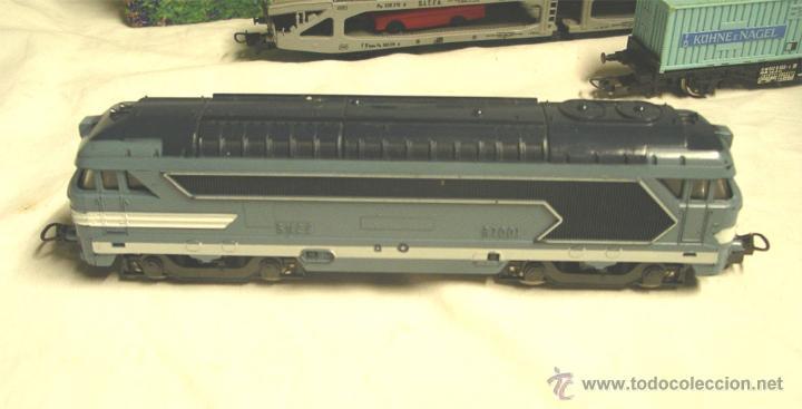 Trenes Escala: Lote Tren Lima Máquina SNCF 62001, 2 Vagones mercancías coches y contenedores y Túnel, escala H0 - Foto 4 - 45702312