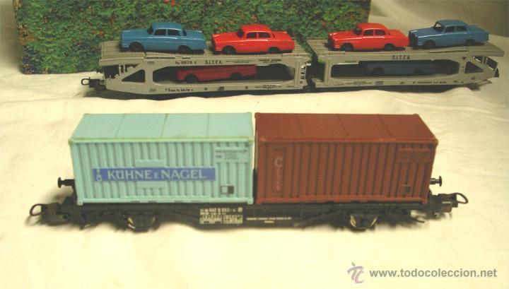 Trenes Escala: Lote Tren Lima Máquina SNCF 62001, 2 Vagones mercancías coches y contenedores y Túnel, escala H0 - Foto 8 - 45702312