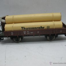 Trenes Escala: LIMA - VAGÓN DE MERCANCÍAS ABIERTO DE LA FS CON CARGA THYSSENROHR Y GARITA - ESCALA H0. Lote 47423174