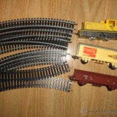 Trenes Escala: VIAS DE ESCALA HO LIMA REF: 1652 L - LOCOMOTORA DIESEL 501+VAGON COCA COLA+VAGON CARGA. Lote 50370807