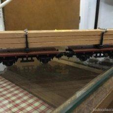 Trenes Escala: VAGON DOBLE CON CARGA DE MADERA - TREN LIMA. Lote 57491423