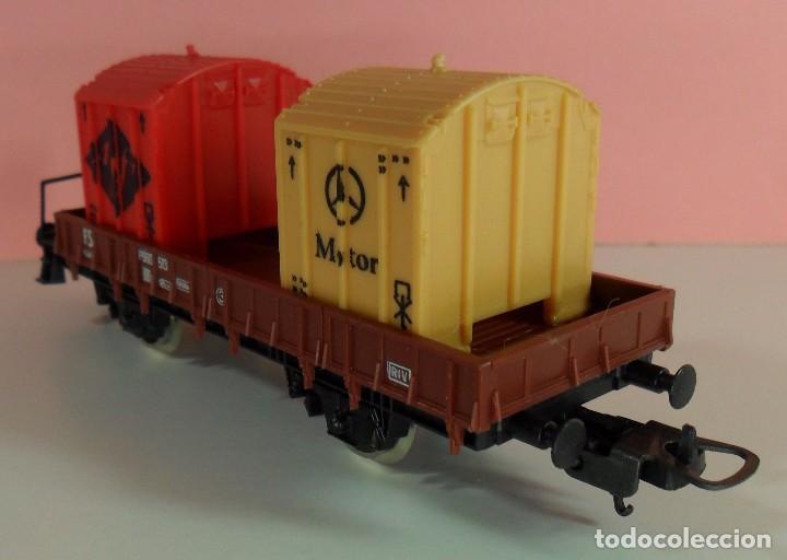 Trenes Escala: LIMA H0 - Vagón plataforma con garita para contenedores - P660 513 - AGFA / MERCEDES - Caja original - Foto 2 - 67523765
