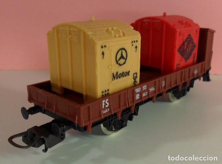 Trenes Escala: LIMA H0 - Vagón plataforma con garita para contenedores - P660 513 - AGFA / MERCEDES - Caja original - Foto 3 - 67523765