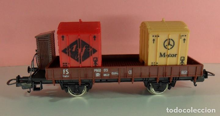 Trenes Escala: LIMA H0 - Vagón plataforma con garita para contenedores - P660 513 - AGFA / MERCEDES - Caja original - Foto 4 - 67523765