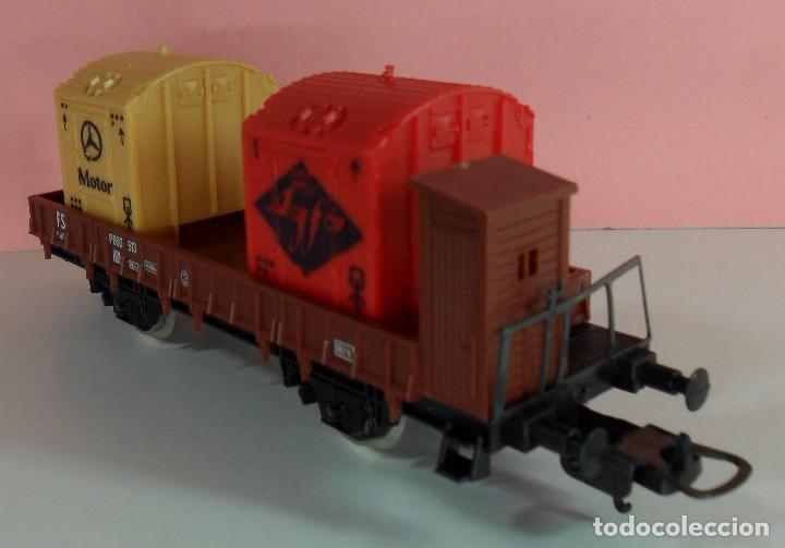 Trenes Escala: LIMA H0 - Vagón plataforma con garita para contenedores - P660 513 - AGFA / MERCEDES - Caja original - Foto 5 - 67523765