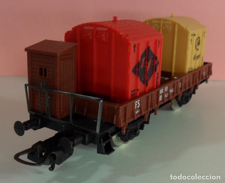 Trenes Escala: LIMA H0 - Vagón plataforma con garita para contenedores - P660 513 - AGFA / MERCEDES - Caja original - Foto 6 - 67523765