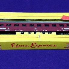 Trenes Escala: ANTIGUO VAGON DE LOCOMOTORA. LIMA EXPRESS 9105. DE PASAJEROS.CAJA ORIGINAL.KØBENHAVN- ODENSE.VAGON 2. Lote 86725580