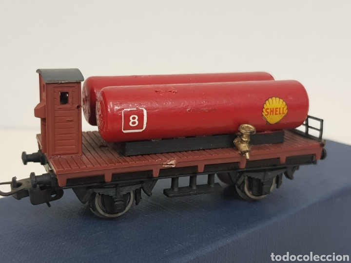 Trenes Escala: RENFE vagón de mercancías Lima escala H0 Shell 8 con doble cisterna de 9 cm con enganche roto - Foto 2 - 134183151