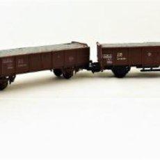 Trenes Escala: LIMA CONJUNTO DE CUATRO UNIDADES DE VAGÓN CON CARGA DE GRAVA. Lote 134754002