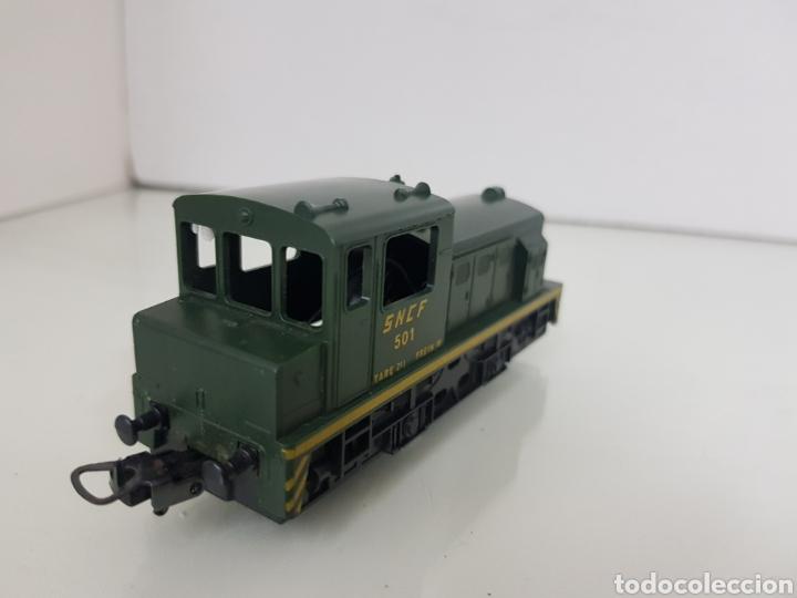 Trenes Escala: Locomotora de carga Lima de la SNCF francesa 501 verde y amarilla de 10,5 cm sin luz - Foto 2 - 146382056