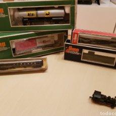 Trenes Escala: LIMA GRAN LOTE DE 5 VAGONES EN SUS CAJAS Y LOCOMOTORA VAPOR ARNOL.GRAN ESTADO. ESCALA N Y H0. Lote 147651534