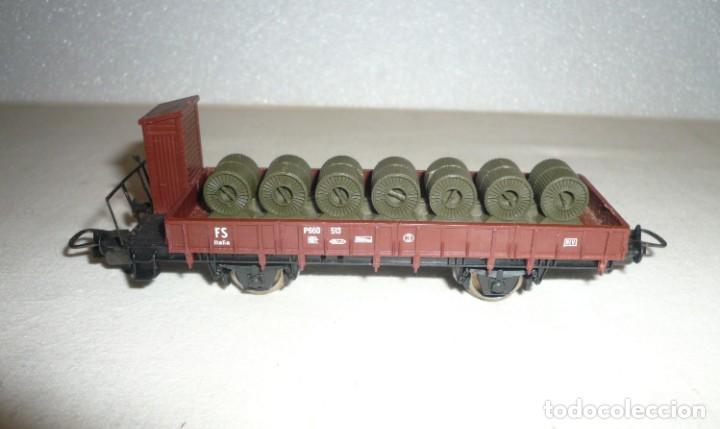 Trenes Escala: VAGON DE BORDE BAJO CON FRENO DE MANO Y CON ROLLOS DE LAMINA - Foto 7 - 151264270