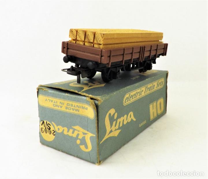 LIMA VAGÓN CON CARGA MADERA. CAJA ORIGINAL (Juguetes - Trenes a Escala H0 - Lima H0)